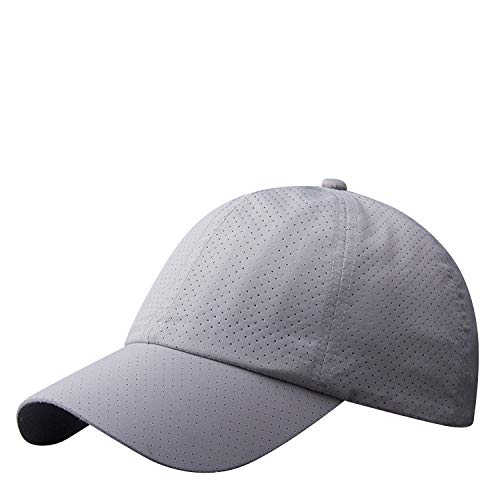 LLmoway Lightweight Sports Hats for Men Women Running Tennis Breathable Cap Mesh Baseball Hats Grey
