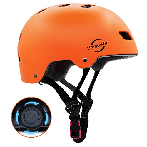 UniqueFit Caschi regolabili per Bambini e Ragazzi, per Scooter, Skateboard, Rollerblade (Orange, Large:58-61cm/22.8'-24.0')