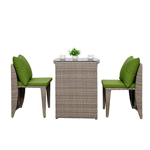 3pcs Patio Bistro fijado al Aire Libre Sillones Rota del PE Muebles de Mimbre 3 Conversation Piece Set Mesa y sillas con Cojines de jardín WKY