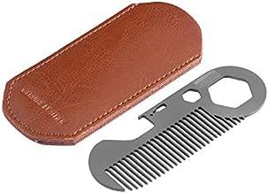 WISEPRO Pocket Metal Beard Comb-Polygonal Mini Keychain Titanium Anti-Static EDC Wallet Hair Comb with Mustache Corkscrew