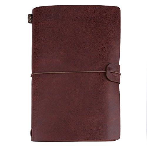 Diario de cuero hecho a mano, cuaderno de viaje clásico de piel sintética, cuaderno de viaje personalizado, cuaderno rellenable, regalo para hombres o mujeres (marrón oscuro)