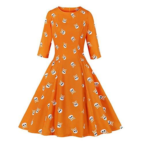 Dames Halloween Jurk, Dames Halve Mouw Schedel Print Ronde hals Jurk, Halloween Rits Pocket Hepburn Party Jurk S=8 UK ORANJE