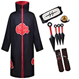 YEAJION Disfraz de Naruto Akatsuki ropa de fiesta de Halloween capa de Naruto Akatsuki accesorios para disfraz hombre mujer chico Naruto chico conjunto Unisex XL