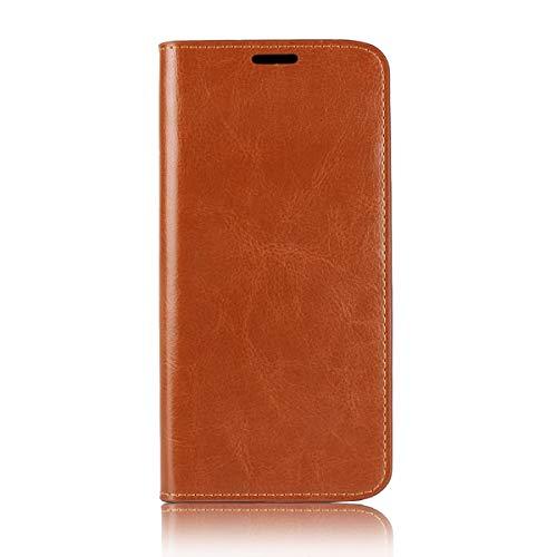Sunrive Für Motorola Moto E5 Plus, Echt-Ledertasche Schutzhülle Hülle Standfunktion Flip Lederhülle Hülle Handyhülle Schalen Kreditkarte Handy Tasche(Braun gelb)