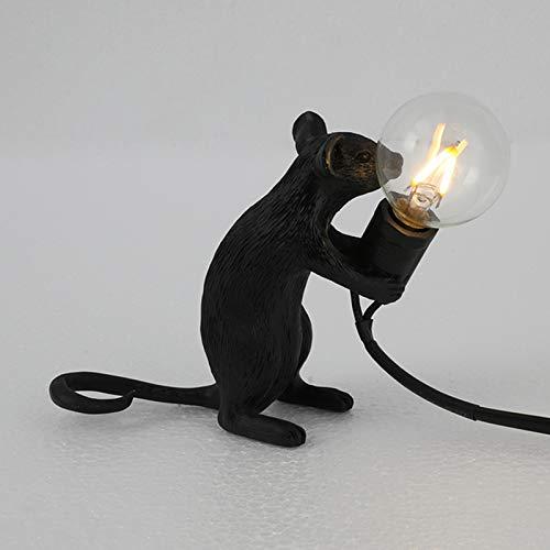 Gelentea Lámpara de mesa con forma de ratón de resina para escritorio, lámpara de noche, decoración de la habitación, decoración creativa, decoración de escritorio, decoración LED para dormitorio