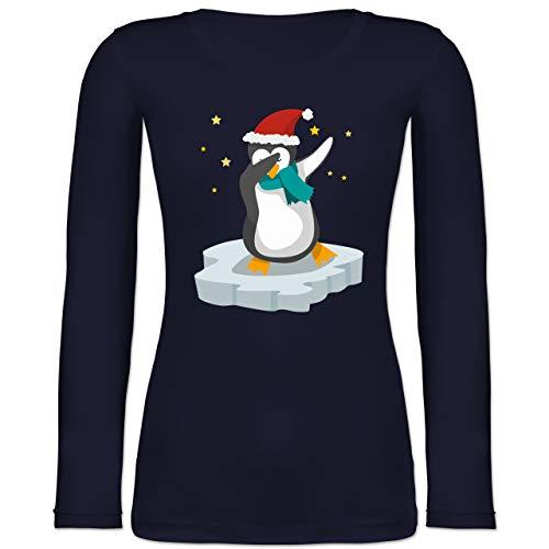 Weihnachten & Silvester - Dab Pinguin Weihnachten - XXL - Marineblau - Weihnachts Tanz - BCTW071 - Langarmshirt Damen