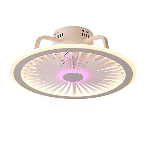 Fan Deckenlampe LED 48cm Deckenventilatoren Leise Fan Deckenleuchte Mit Beleuchtung App und Fernbedienung Dimmbarer Ventilator Kronleuchter Für Schlafzimmer Wohnzimmer Kinderzimmer Fan Lampe (Rosa)