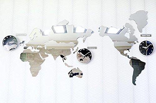 MAIKA HOME Acryl gespiegelte Weltkartenuhr, kreative Wanduhr, stumme hängende Tabelle des Wohnzimmers, dekorative Uhr