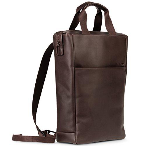 SALZEN Ledertasche und Rucksack Tote Backpack aus Echtleder braun