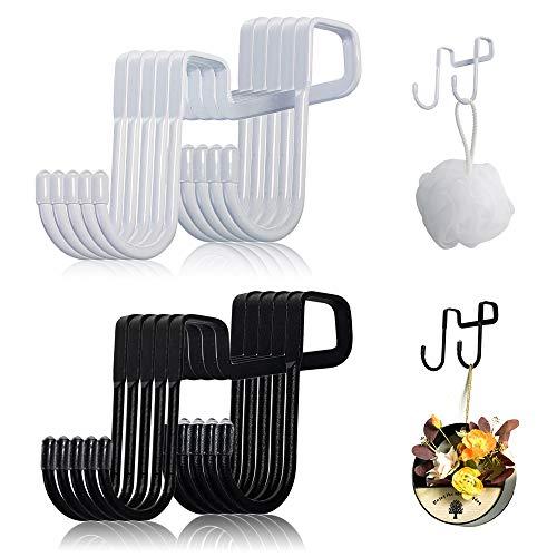Besylo S ganchos, Ganchos en Forma de S,10pcs Ganchos en Forma de S de Acero Inoxidable para ropa, utensilios de cocina, utensilios, herramientas de jardinería (blanco, negro)