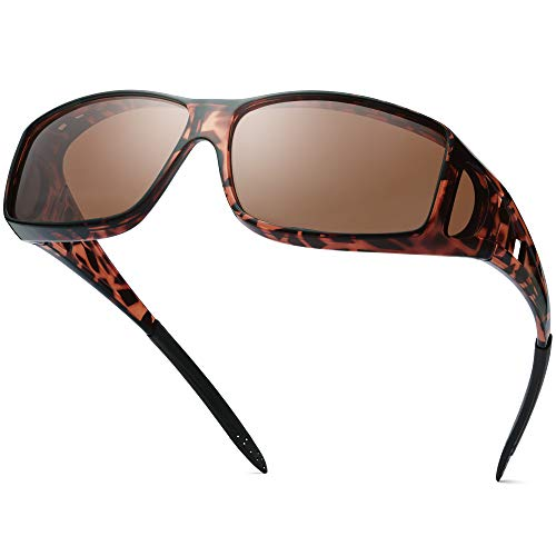 Polarized Sunglasses Fit Over Glasses for Men Women, Wrap Around Sunglasses Over Prescription Glasses UV400 Protection (A07 Glossy Tortoise Frame/Brown Lens)