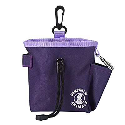 The Company of Animals Treat Bag, Pouch, Zipped Pockets and Drawstring, Clips on Belt Waistband or Pocket Available in Purple, Red or Black for Dog and Puppy Training
