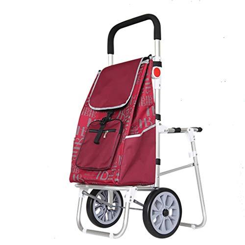RTTgv Einkaufstrolleys Faltbare Einkaufswagen mit Sitz, Faltbare Einkaufswagen mit herausnehmbaren Tasche und faltbares Design, 2-Rad multifunktionale Gepäckwagen (Color : C)