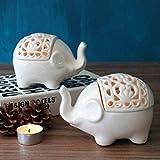 Hosoncovy Portavelas de cerámica con diseño de elefante pequeño hueco, 2 unidades