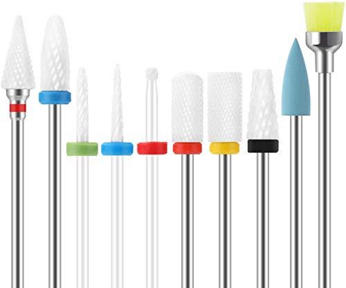 FancyWhoop Trapano per Unghie Set di Punte Trapano per Unghie Manicure Gel Kit Strumenti (10 pezzi)