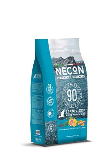 NECON PET FOOD Natural Wellness Sterilizzato Pesce Bianco & Riso 1,5 kg, Cibo per Gatti Sterilizzati, Crocchette low grain ricche Omega 3, Qualità Super Premium, Made in Italy, Senza Glutine