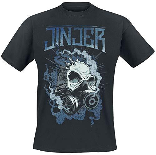 Jinjer Gasmask Skull Hombre Camiseta Negro, Regular