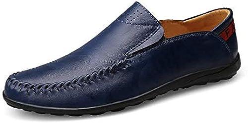 Herren Mokassins Schuhe, Mens Driving Loafers Slip-on Komfort Mokassins Freizeit Leder gefüttert Leichte Schuhe (Farbe   Blau, Größe   43 EU) (Farbe   Wie Gezeigt, Größe   EinheitsGröße)