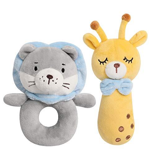TILLYOU 2 PCS Soft Baby Rattle for Newborns, Plush Stuffed Animal Rattle, Rattle Shaker Set for Infants, Shower Gifts for Girls Boys, Shaker & Teether Toys for 3 6 9 12 Months (Lion/Giraffe)