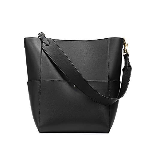 Kattee Hobo Bags for Women, Genuine Leather Tote Purses and Handbags Shoulder Bucket Bags(Black)