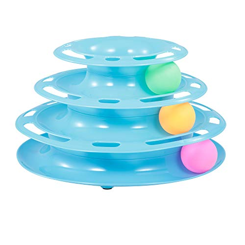 3 lagen kat track toren track speelgoed interactieve trilaminar platenspeler Crazy Ball Discs speelgoed voor katjes blauw