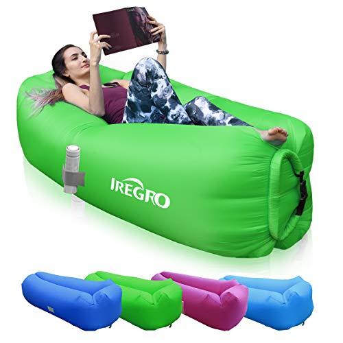 IREGRO aufblasbares Sofa New Version tragbarer Sitzsack wasserdichtes Aufblasbare Couch air Lounger Outdoor Sofa für Camping(grün)