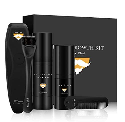 Kit per la crescita della barba, strumenti per la crescita della barba Best Best for Beard Crescita rapida e ispessimento, The Serum Activator Growth Serum, Beard Roller, Sanitizer and Comb