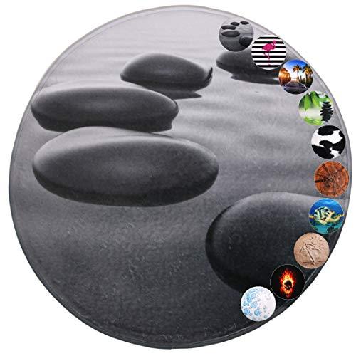 Sanilo Badteppich Rund I viele schöne Badematten zur Auswahl I Badvorleger sehr weich und rutschfest I waschbar und schnelltrocknend (Black Stones, 80 cm)
