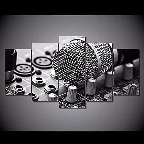 5 Piezas Cuadro sobre Lienzo De Fotos Micrófono de Estudio de grabación Lienzo Impresión Cuadros Decoracion Salon Grandes Cuadros para Dormitorios Modernos Mural Pared Listo para Colgar