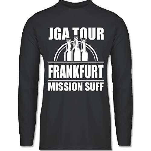 Shirtracer JGA Junggesellenabschied Männer - JGA Tour Frankfurt - Mission Suff - S - Dunkelgrau -...