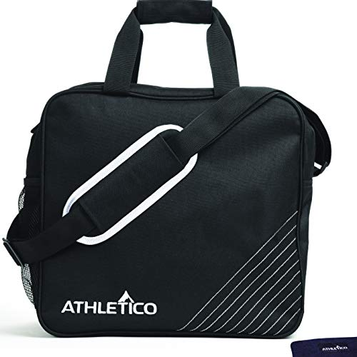 Athletico Essential Bowling Bag & Seesaw Polisher Bundle - Single Ball Bowling Tote Bag with Padded Bowling Ball Holder