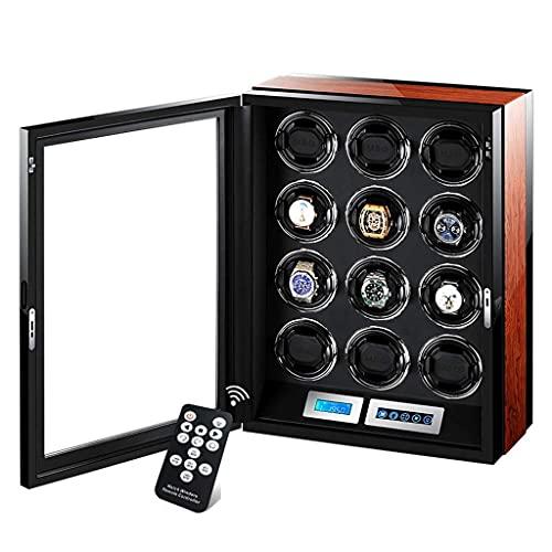 YYSS Avvolgitori per Orologi Display Touch Screen LCD Automatico, con Illuminazione a LED Integrata nel Telecomando, 12 spazi di avvolgimento alimentati da Un Motore Estremamente silenz
