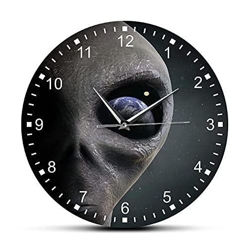 JKLMZYT Reloj de Pared alienígena del Planeta del Espacio Exterior Extraterrestre Mirando a la Tierra Reloj de Pared Moderno Reloj Colgante platillo Hombre Gag regalo-30X30cm