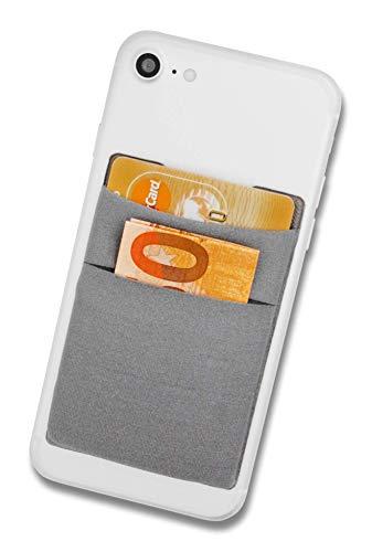 Cardsock - Reutilizable Porta Tarjetas - Tarjetero movil Adhesivo, Cartera para movil en Gris
