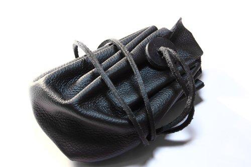 Mittelalterlicher Lederbeutel aus hochwertigem Rinds-Nappaleder Farbe: schwarz - 3