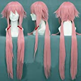 Anogol Hair Cap+Pink Long Straight Anime Cosplay Costume Party Full Head Wig