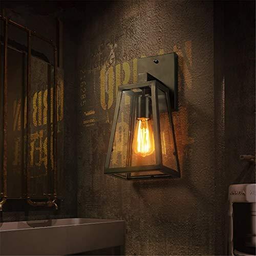 Lámparas de pared industriales, Luz de pared vintage E27 Iluminación interior Cabezal de una sola cabeza para hornear, lámpara de pared de hierro de hierro con lámpara de cristal estilo retro loft ind