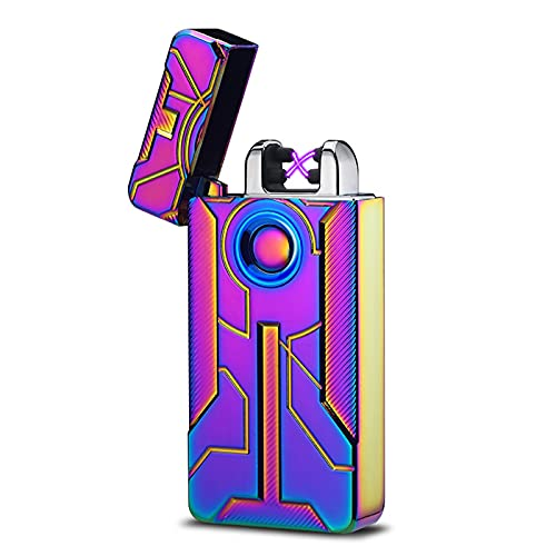 Mechero Electrico Encendedor Electrico USB Doble Arco Mechero Recargable y Resistente al Viento Mechero de Plasma sin Gas con Cable Portátil Caja de Regalo para Vela,Multicoloured
