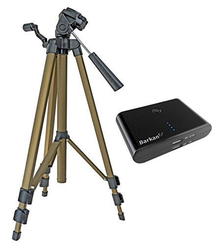 Trípode de viaje Incluye Funda para trípode Tipo Friend III en Juego con externa Power Bank 2200mAh para Canon EOS 1300d 700d 760d 80d 100d Nikon D7200D500D610D5500D5300D3300D3200Sony Alpha 6500630060005100
