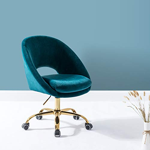 Office Chair Velvet Fabric Task Chair with Wheels Swivel Soft Seat Computer Chair for Home Work Study Vanity Small Desk Chair-Teal