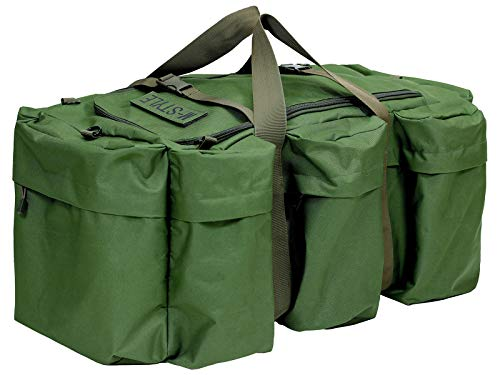 M-STYLE ミリタリーバッグ 大容量 90L アウトドア 3WAY ボストン リュック ショルダー バックパック 防水生地 (アーミーグリーン)