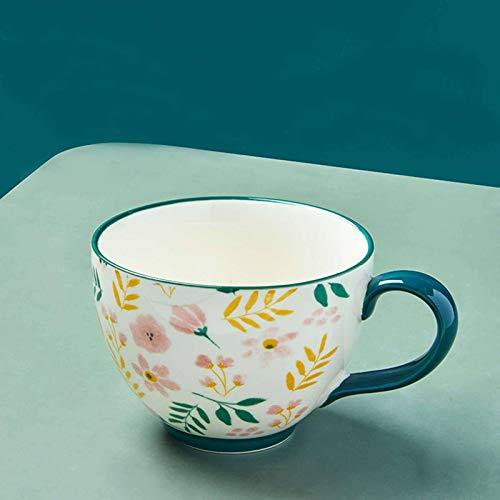 HUANXA Grande Taza De Café con Agarre, Calentador De Cerámica Tazón De Sopa 460ml Apto para Microondas En Lavavajillas Tazas De Café para Cereales Leche Capuchino Taza De Té -verde-2pcs