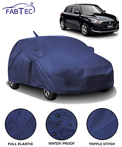 Fabtec Waterproof Car Body Cover for Maruti Swift (2018-2020) with Mirror Antenna Pocket (Full Sized, Triple Stitched, Fully Elastic) (Navy Blue)