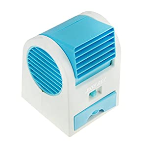 Portable Air Conditioner Fan USB/Battery Operated Desktop Mini Fan Drawer Style Perfume Smell Bladeless Summer Cooling Fan for Home Office and Outdoor Travel (Fashion Blue)