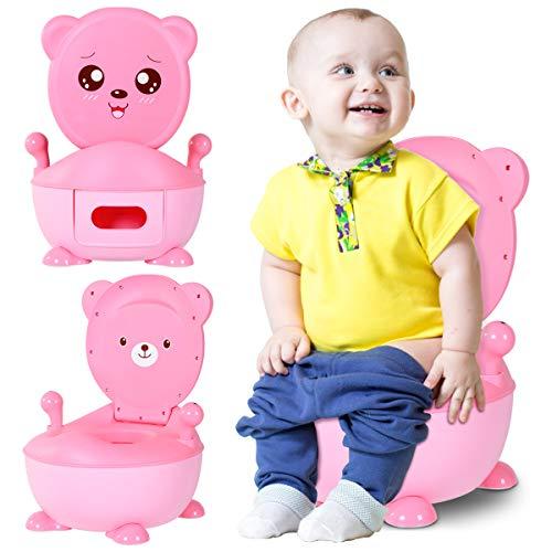 GOPLUS Vasino per Bambini con Schienale e 2 Appoggiabracci,Serbatoio Rimovibile 1,9L,Vasetto WC Toilette WC per Bimbo (ROSA)