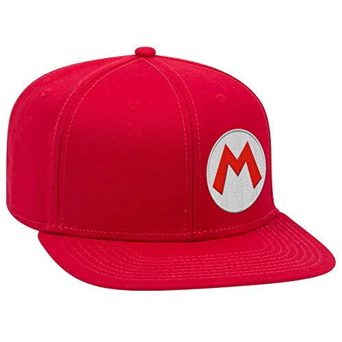 Controller Gear Unisex-Adult's Super Mario M Snapback Flat Bill Hat, Red, OSFM