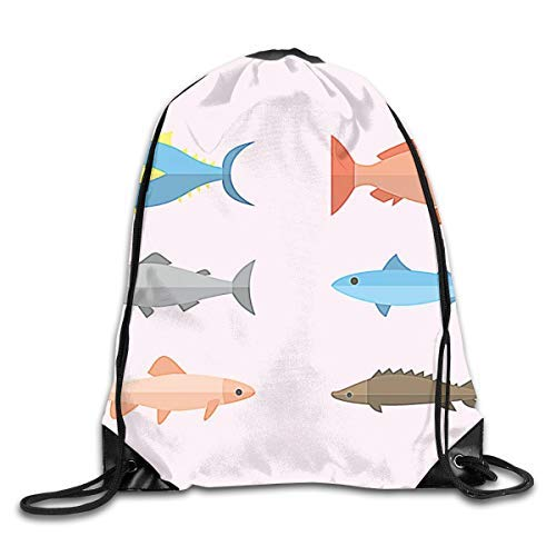 Etryrt Zaino con Coulisse,Borsa Palestra,Sacca Sportiva, Flat Fish Illustration Drawstring Bag for Traveling Or Shopping Casual Daypacks School Bags