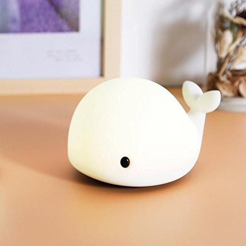Luz nocturna con diseño de delfín, USB, recargable, para niños, luz nocturna, con ballena de colores