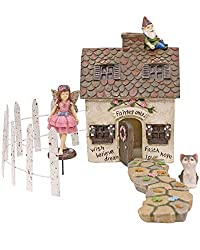Image: Fairy Garden Kit House and Accessories | Fairy Garden Set for Adults, Girls, Boys | 5 Pieces for Outdoor | Includes Fence, Cat, Pathway (Mystic Cottage) | by Maisana