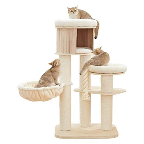 COUYY Árbol de Gato, Marco de Escalada de Gato de Madera Maciza Natural, sisal rasguño Poste/capada de Gato/Cuchara de Gato/cojín Suave
